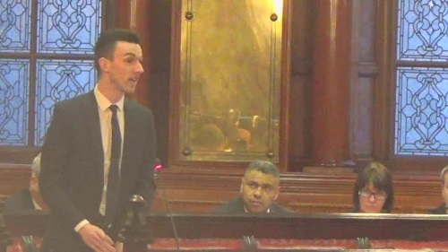 Liverpool City Council Budget Meeting 5th March 2015 Cllr Jake Morrison tries to move an amendment