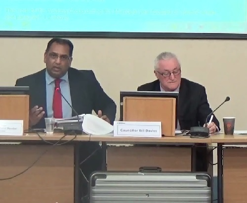 Surjit Tour (left) at a recent meeting of Wirral Council's Standards and Constitutional Oversight Committee