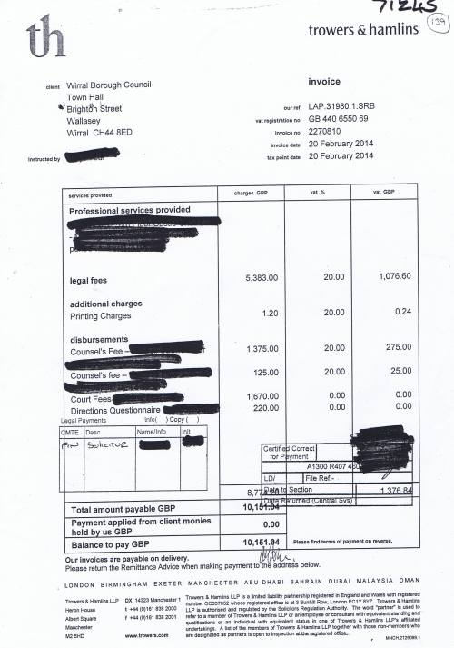 Wirral Council invoice Trowers & Hamlins £10,151.04 20th February 2014
