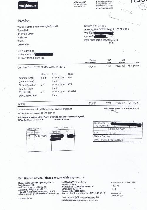 Wirral Council invoice Weightmans £2185.20 29th April 2013