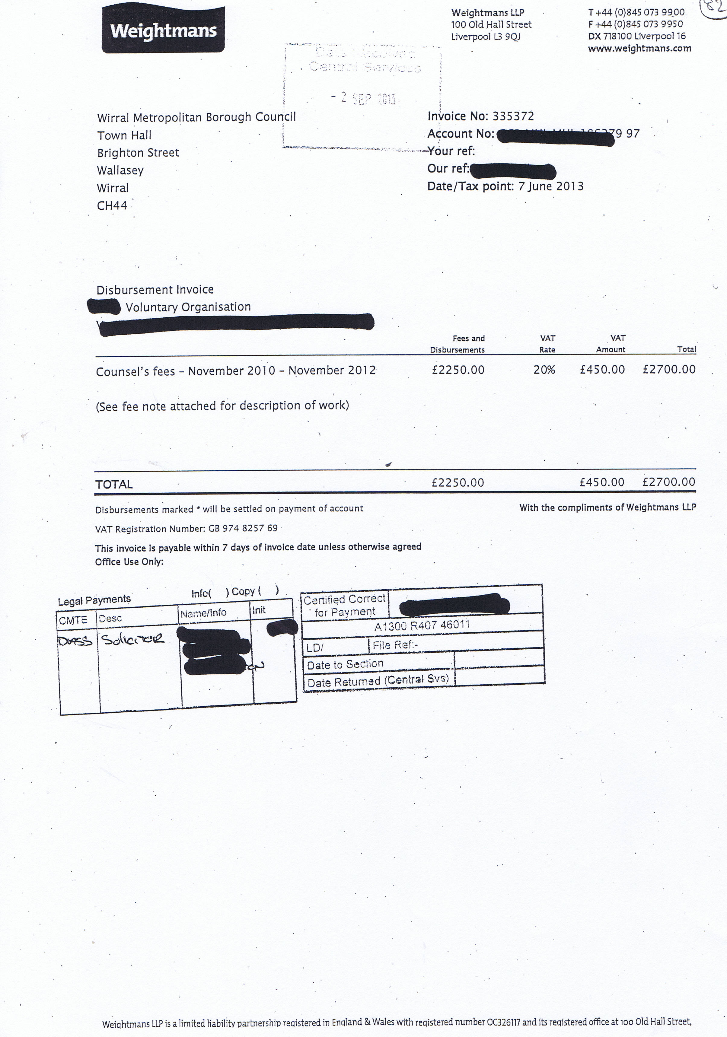 Weightmans invoice