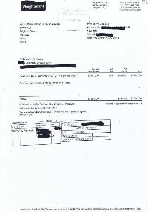 Wirral Council invoice Weightmans £2700 7th June 2013