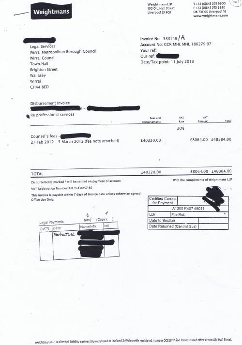 Wirral Council invoice Weightmans £48384 11th July 2013