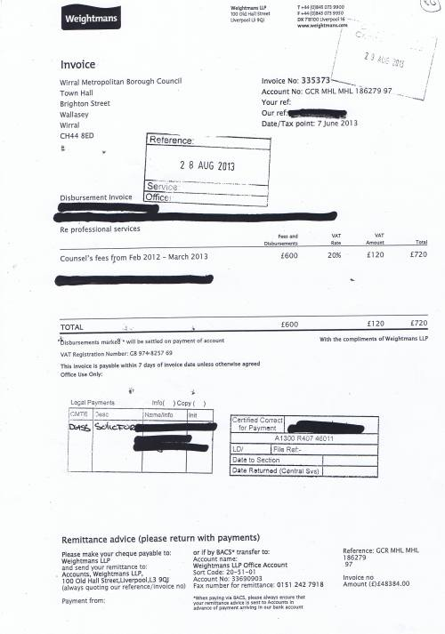 Wirral Council invoice Weightmans £720 7th June 2013