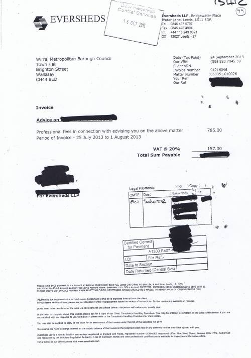 Wirral Council invoices Weightmans £942 24th September 2013