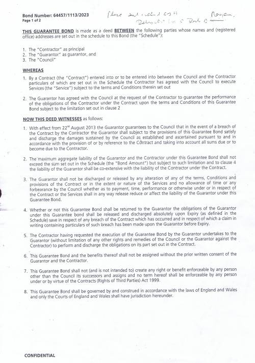 Biffa Waste Services Limited Bond 64457 1113 2023 Page 1 of 2
