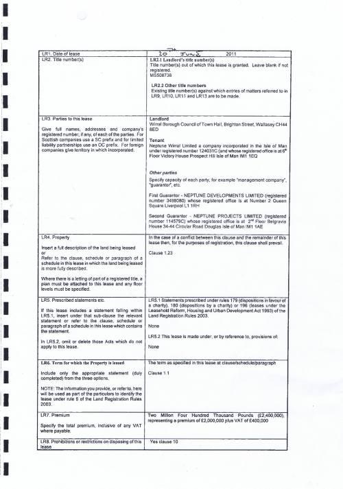 New Brighton Marine point lease Wirral Council Neptune Wirral Ltd £2 million premium