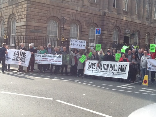 Protest outside Liverpool Town Hall 8th April 2015