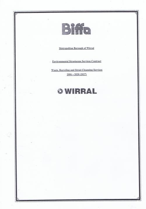 Wirral Council Environmental Streetscene Services Contract page 1 of 123 Biffa Method Statements Cover Page