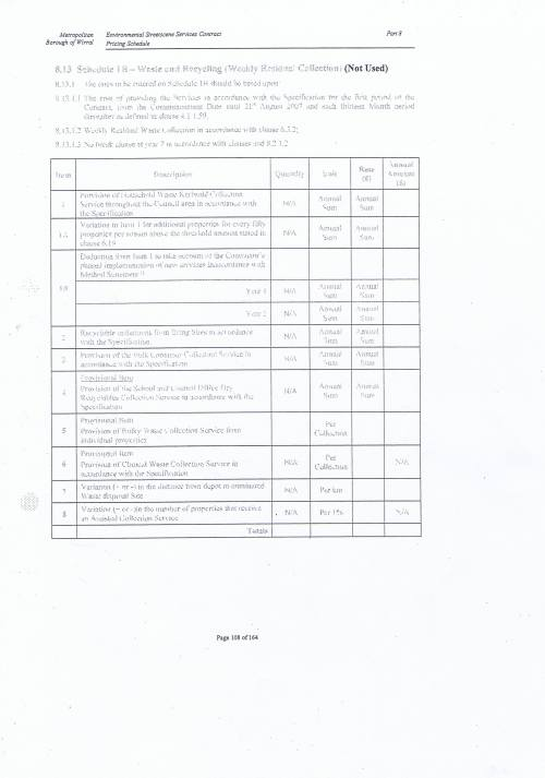 Wirral Council Environmental Streetscene Services Contract page 108 8.13 Schedule 1B - Waste and Recycling (Weekly Residual Collection) (Not Used)
