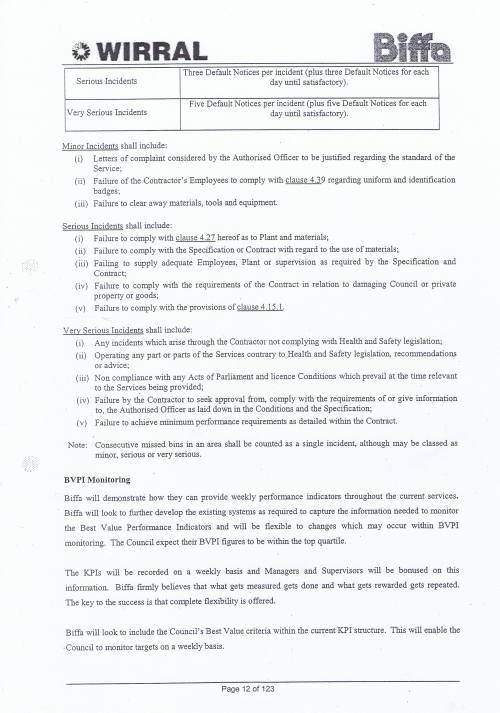 Wirral Council Environmental Streetscene Services Contract page 12 of 123 Method Statement 3 Key Performance Indicators