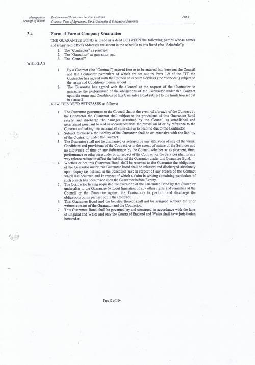 Wirral Council Environmental Streetscene Services Contract page 13 3.4 Form of Parent Company Guarantee