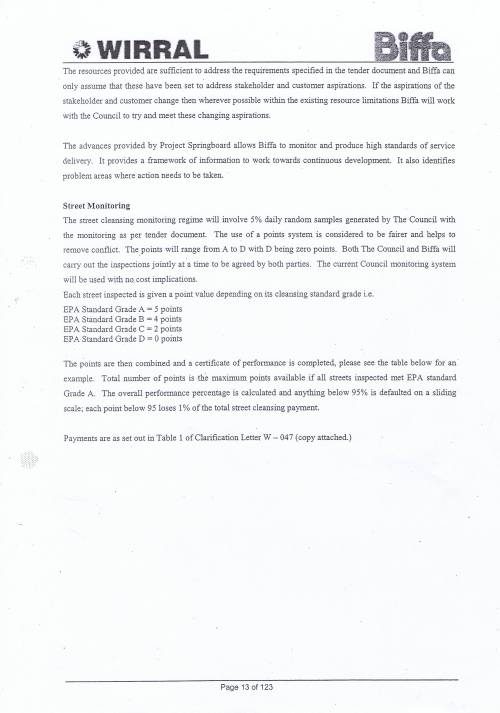 Wirral Council Environmental Streetscene Services Contract page 13 of 123 Method Statement 3 Key Performance Indicators