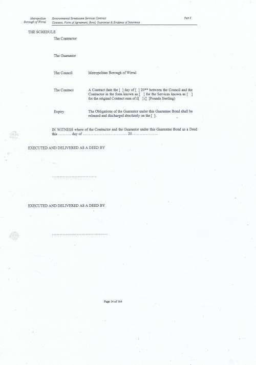 Wirral Council Environmental Streetscene Services Contract page 14 3.4 The Schedule