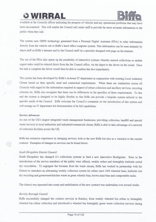 Wirral Council Environmental Streetscene Services Contract page 15 of 123 Method Statement 4 Alternative and innovative proposals