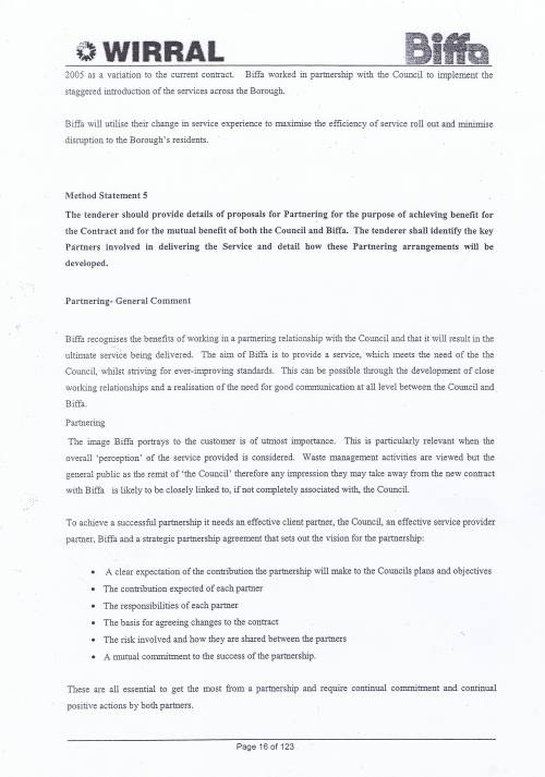 Wirral Council Environmental Streetscene Services Contract page 16 of 123 Method Statement 5 Partnering proposals