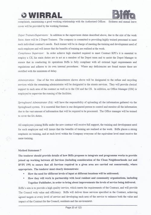 Wirral Council Environmental Streetscene Services Contract page 20 of 123 Method Statement 7 Joined up working