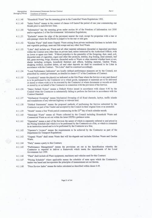 Wirral Council Environmental Streetscene Services Contract page 21 4 Conditions of Contract Definitions and Intepretation 4.1.1.48 to 4.1.1.68