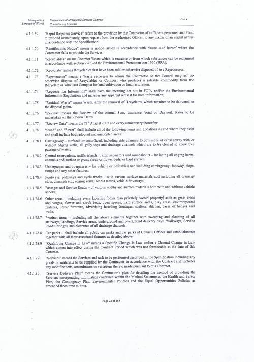 Wirral Council Environmental Streetscene Services Contract page 22 4 Conditions of Contract Definitions and Interpretation 4.1.1.69 to 4.1.1.80