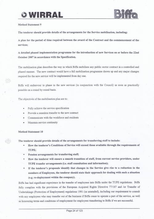 Wirral Council Environmental Streetscene Services Contract page 24 of 123 Method Statement 9 Service mobilisation arrangements Method Statement 10 TUPE arrangements