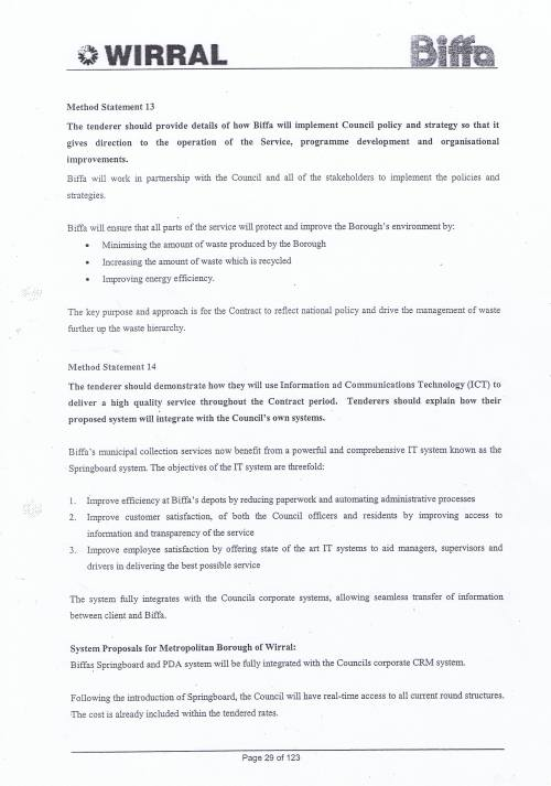 Wirral Council Environmental Streetscene Services Contract page 29 of 123 Method Statement 13 Council policy Method Statement 14 Information and Communication Technology