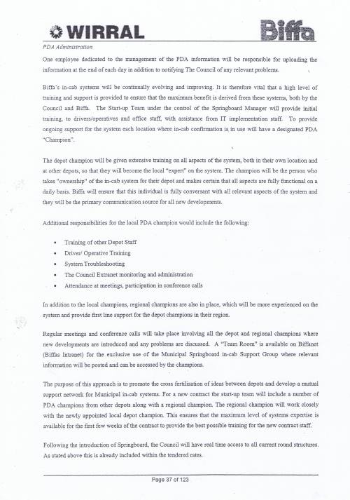 Wirral Council Environmental Streetscene Services Contract page 37 of 123 Method Statement 14 Information and Communication Technology