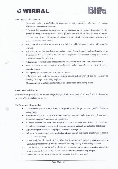 Wirral Council Environmental Streetscene Services Contract page 39 Method Statement 15 Personnel Matters