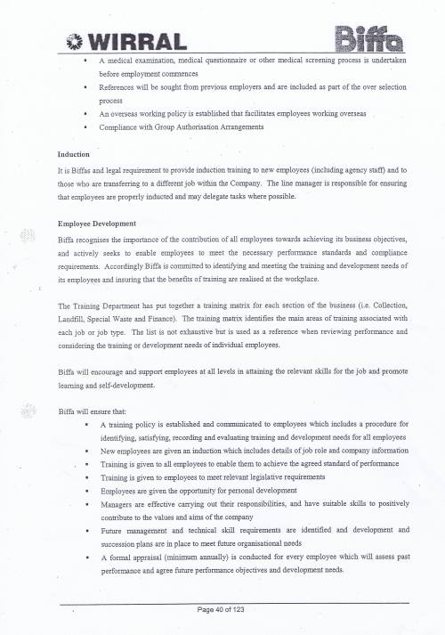 Wirral Council Environmental Streetscene Services Contract page 40 Method Statement 15 Personnel Matters