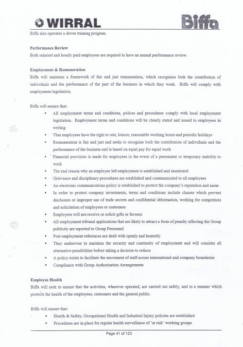 Wirral Council Environmental Streetscene Services Contract page 41 Method Statement 15 Personnel Matters