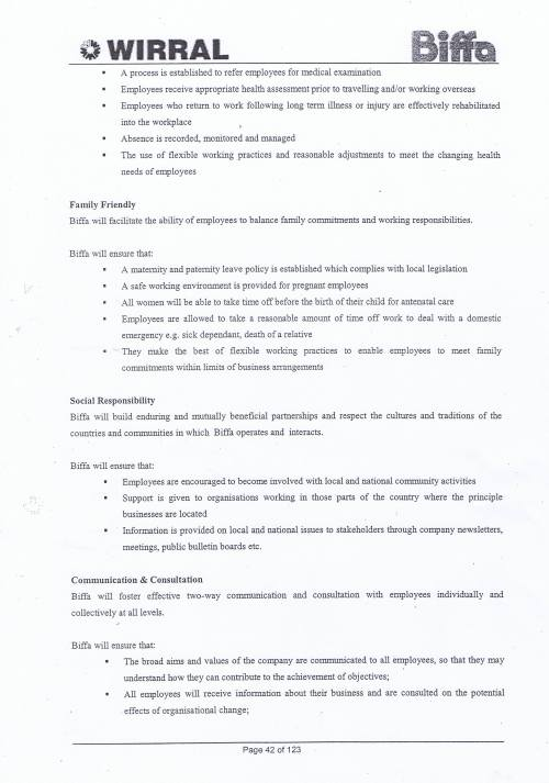 Wirral Council Environmental Streetscene Services Contract page 42 Method Statement 15 Personnel Matters