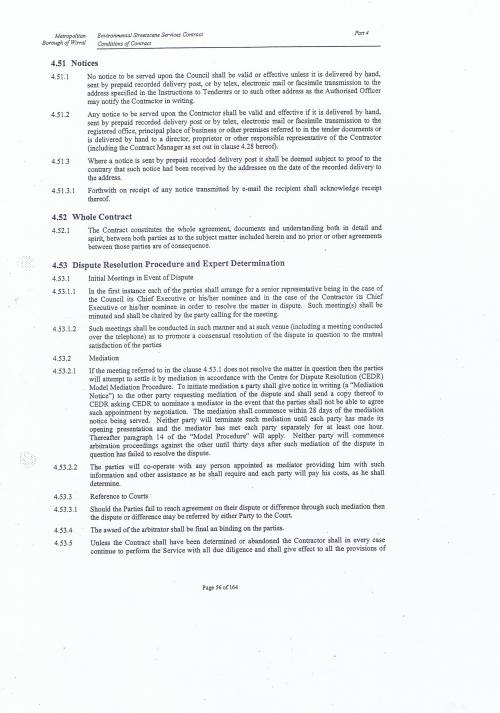 Wirral Council Environmental Streetscene Services Contract page 56 4.51 Notices 4.52 Whole Contract 4.53 Dispute Resolution Procedure and Expert Determination