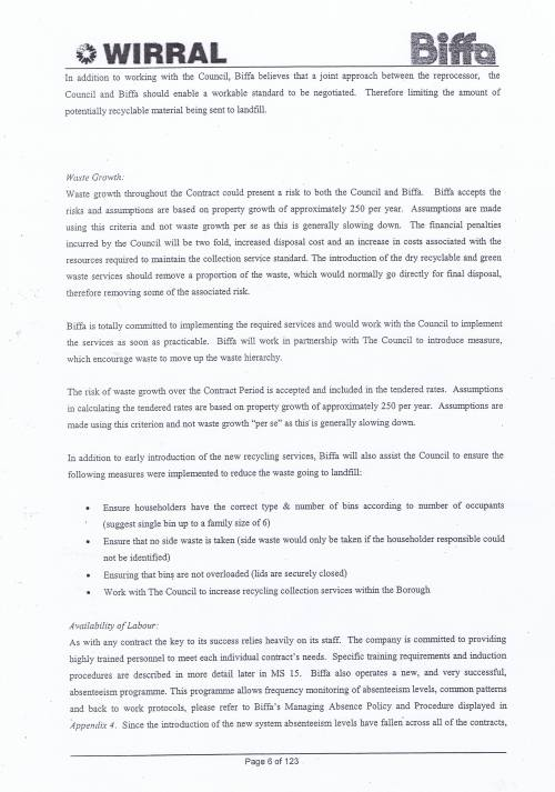 Wirral Council Environmental Streetscene Services Contract page 6 of 123 Method Statement 2 Key Risks