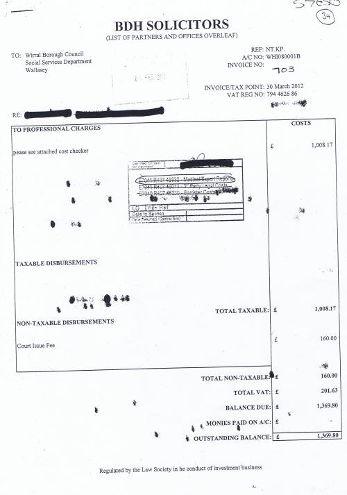 Wirral Council invoice BDH Solicitors £1369.80 30th March 2012
