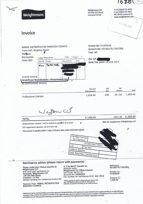 Wirral Council invoice Weightmans £1929.60 28th June 2013
