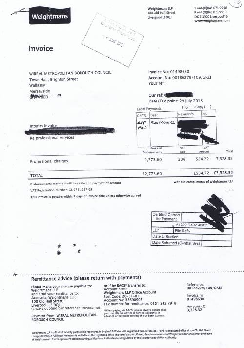 Wirral Council invoice Weightmans £3,328.32 29th July 2013