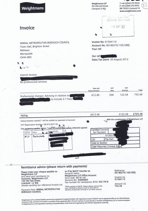 Wirral Council invoice Weightmans £735.48 30th August 2013