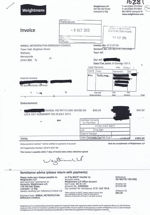 Wirral Council invoice Weightmans £960 8th October 2013