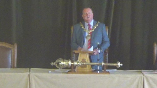 Councillor Steve Foulkes giving his outgoing speech as Mayor at the Annual Meeting of Wirral Council (18th May 2015)