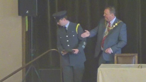 Matthew Lewis (Mayoral cadet) receives a certificate from Mayor Steve Foulkes (18th May 2015)