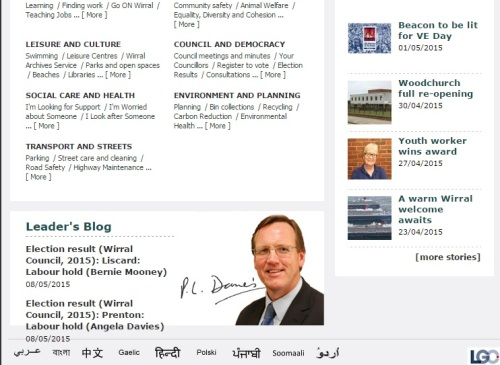 RSS feed changed on Wirral Council's homepage