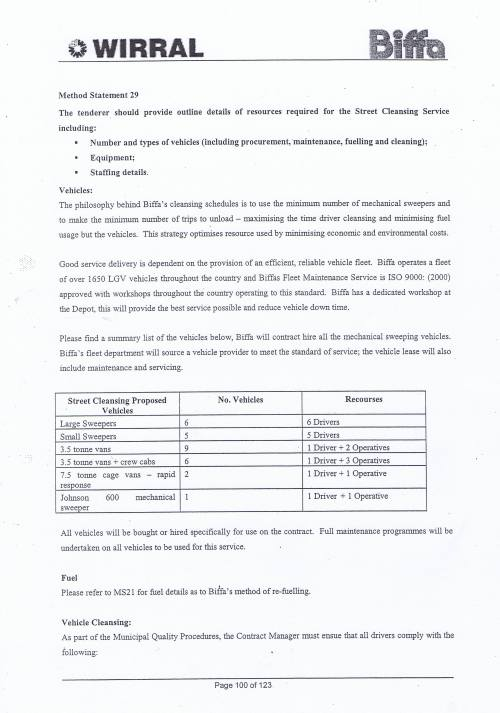Wirral Council Environmental Streetscene Services Contract page 100 Method Statement 29 Street Cleansing Service resources