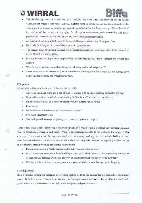 Wirral Council Environmental Streetscene Services Contract page 101 Method Statement 29 Street Cleansing Service resources