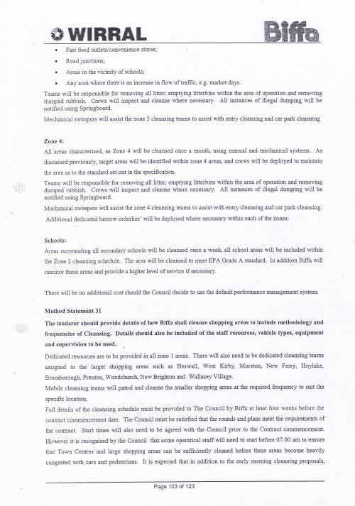Wirral Council Environmental Streetscene Services Contract page 103 Method Statement 30 Street Cleansing Service operations Method Statement 31 Shopping Areas