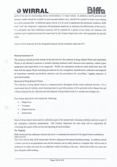 Wirral Council Environmental Streetscene Services Contract page 106 Method Statement 35 Leaf Fall Method Statement 36 Drug related waste