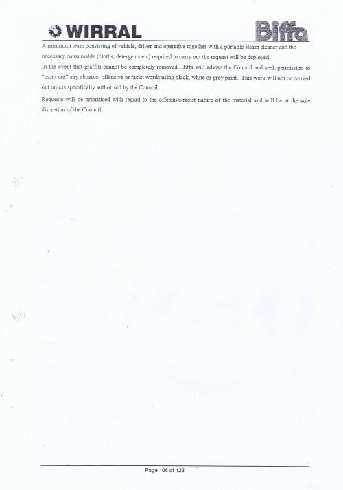 Wirral Council Environmental Streetscene Services Contract page 108 Method Statement 38 Fly tipping