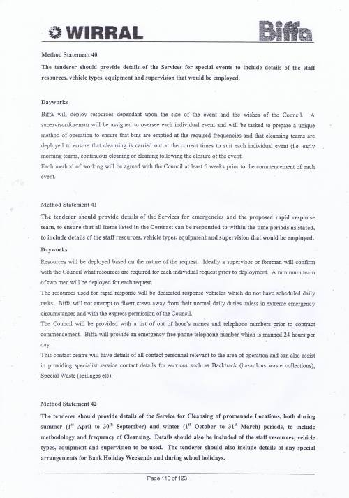 Wirral Council Environmental Streetscene Services Contract page 110 Method Statement 40 Special Events Method Statement 41 Emergencies Method Statement 42 Promenade Cleansing