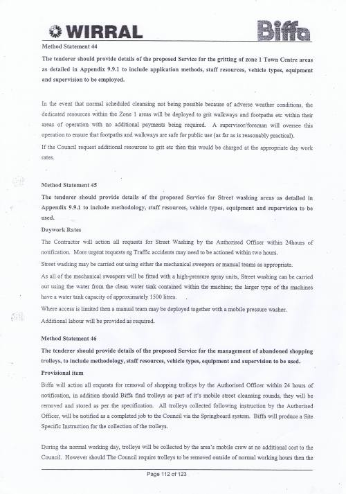 Wirral Council Environmental Streetscene Services Contract page 112 Method Statement 44 Town Centre gritting Method Statement 45 Street Washing Method Statement 46 Shopping Trolleys