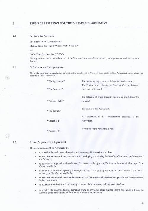 Wirral Council Environmental Streetscene Services Contract page 118 Terms of Reference for the Partnering Agreement