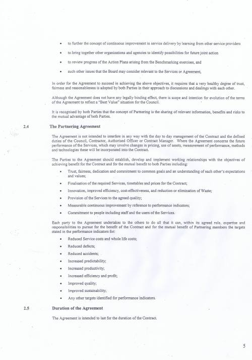 Wirral Council Environmental Streetscene Services Contract page 119 Terms of Reference for the Partnering Agreement