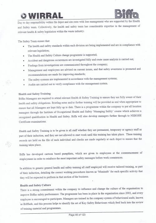 Wirral Council Environmental Streetscene Services Contract page 46 Method Statement 16 Health and Safety